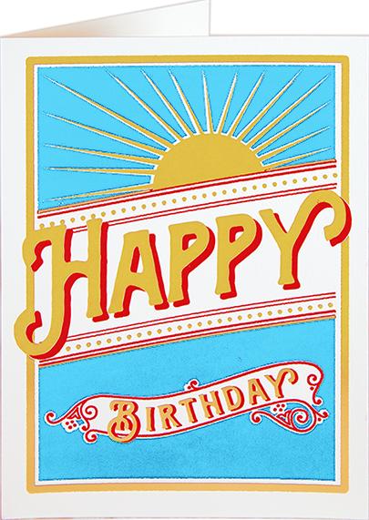Birthday funky quirky unusual modern cool card cards greetings greeting original classic wacky contemporary art illustration fun vintage retro letterpress birthday sunburst Archivist-Cards
