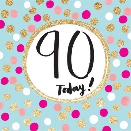 funky quirky unusual modern cool card cards greetings greeting original classic wacky contemporary art illustration fun cute glitter gold neon 90 90th ninetieth ninety birthday rachel ellen sparkling gold flitter