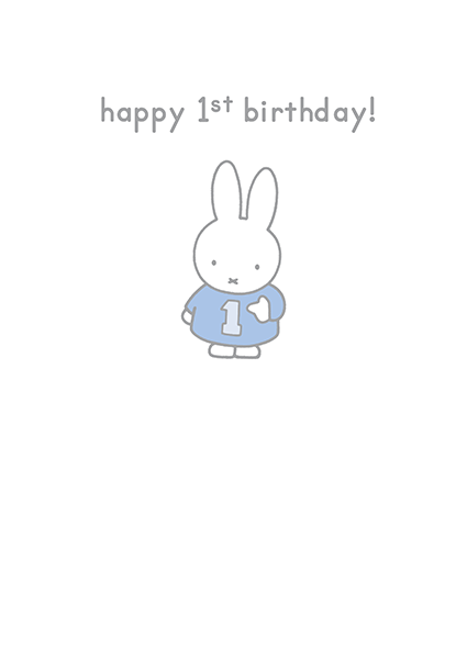bunny rabbit funky quirky unusual modern cool card cards greetings greeting original classic wacky contemporary art illustration photographic vintage retro kids book happy birthday 1st 1 one first miffy dick-bruna hype-cards