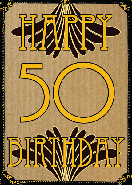 Birthday funky quirky unusual modern cool card cards greetings greeting original classic wacky contemporary art illustration fun vintage retro malarkey Brighton 50 50th fifty fiftieth