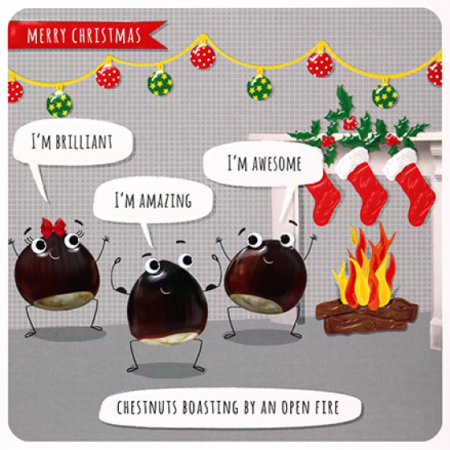 funky quirky unusual modern cool card cards greetings greeting original classic wacky contemporary art illustration photographic distinctive vintage retro Paperlink Christmas xmas Froot-Loop humourous funny chestnuts boasting open fire