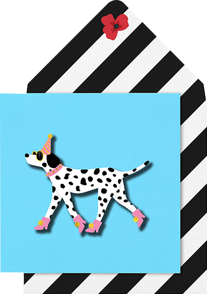 Malarkey Cards Brighton sell funky quirky unusual modern cool card cards greetings greeting original classic wacky contemporary art photographic birthday fun vintage tache 3D modern missy MM16 pink party hat palmation dog