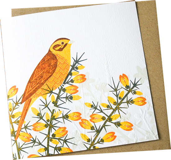 Malarkey Cards Brighton sell funky quirky unusual modern cool original classic wacky contemporary art illustration photographic distinctive vintage retro funny rude humorous birthday greetings cards debossed embossed Lino King Cards Ashleaf printmaking LBE603 yellow hammer bird
