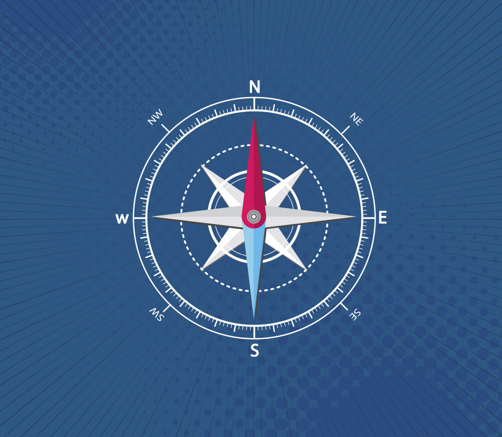 Compass in Blue Background