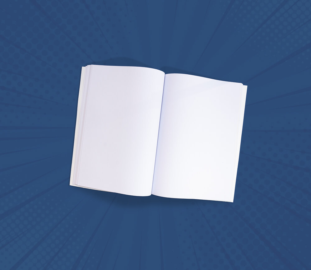 Plain White Book in Blue Background