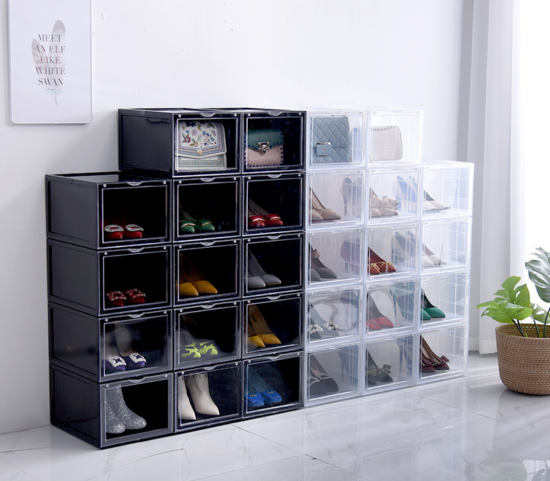 10 black and white shoe boxes