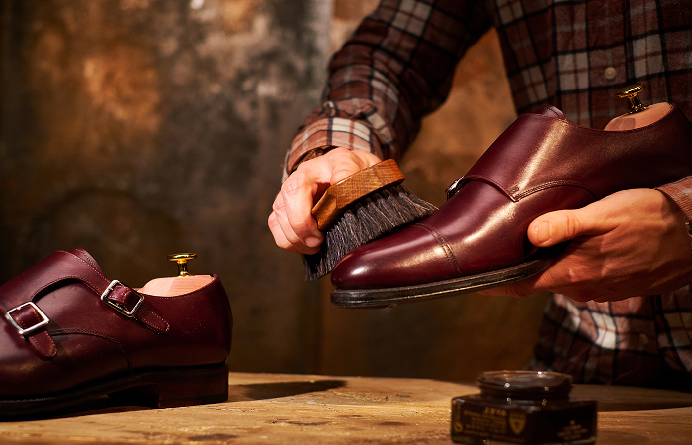 cleaning and polishing a shoe
