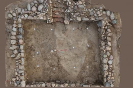 The large cellar was 50 square metres in size. Part of it was probably used to store the collected taxes while the other side was used to store farming equipment. (Photo: Kirsi Pedersen)