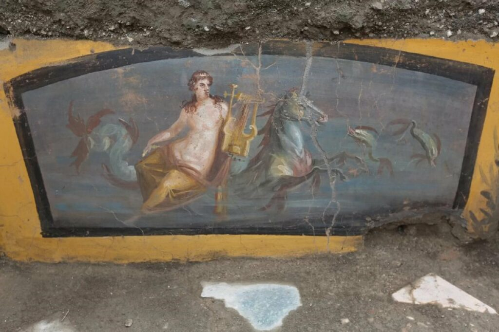 A painting of a scantily clad sea nymph graces the storefront of an ancient fast-food joint in Pompeii.