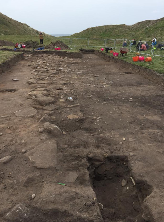 The stretch of defensive wall discovered by archaeologists at the site in Burghead