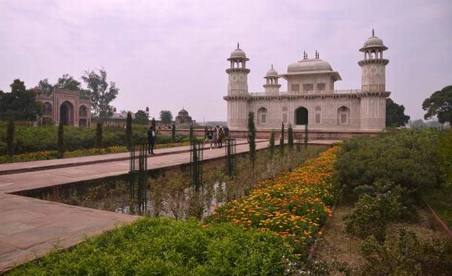 The landscaped garden around the Tomb of I'timad-ud-Daulah in Agra