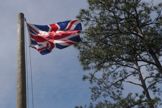 The British flag flies over the location of the Negro Fort that stood at Prospect Bluff in the Apalachicola National Forest Wednesday, April 17, 2019.