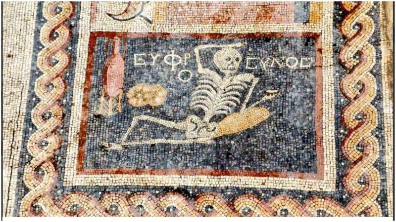 """Be cheerful, enjoy your life"" says happy skeleton mosaic found in Turkey"