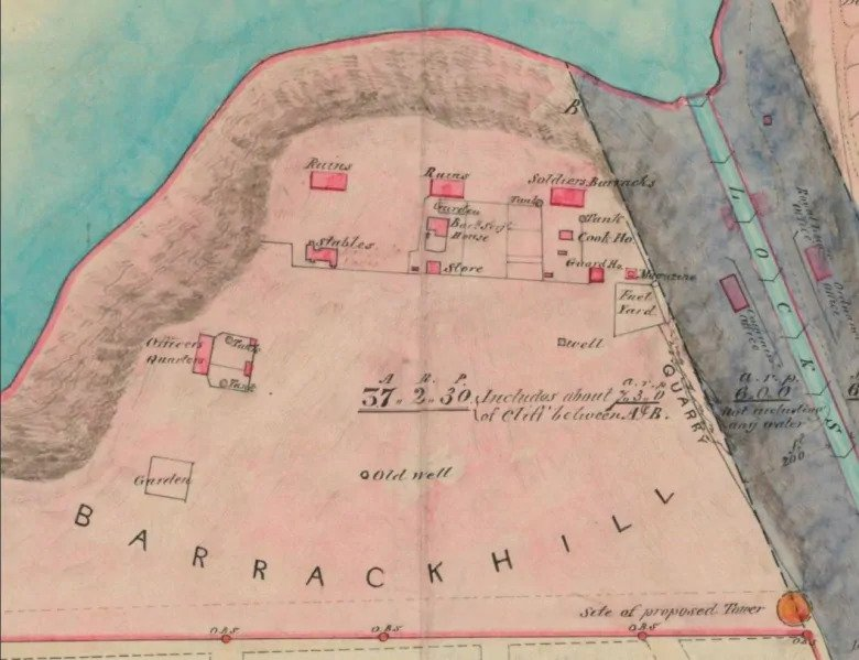 An 1853 map of Barrack Hill — now known as Parliament Hill — shows where the soldiers' barracks, officers' quarters, stables and guardhouse used to be.