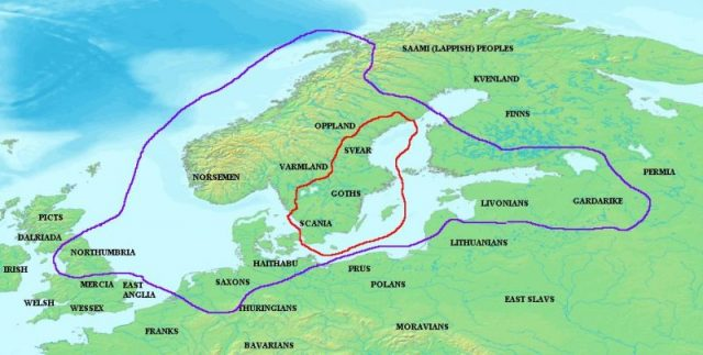 The kingdom of Ivar (outlined in red) and the territories paying him tribute (outlined in purple).