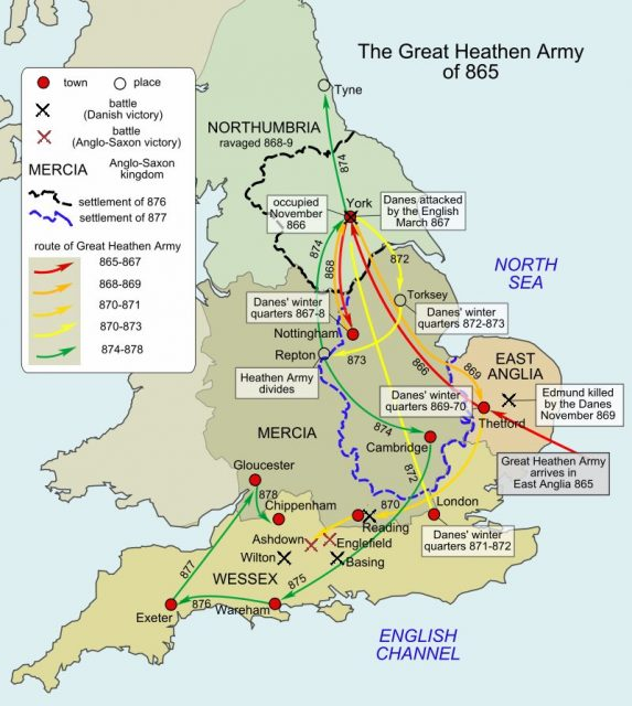 A map of the routes taken by the Great Heathen Army from 865 to 878.