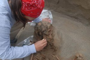 An archaeologist excavates one of the sacrificed children.