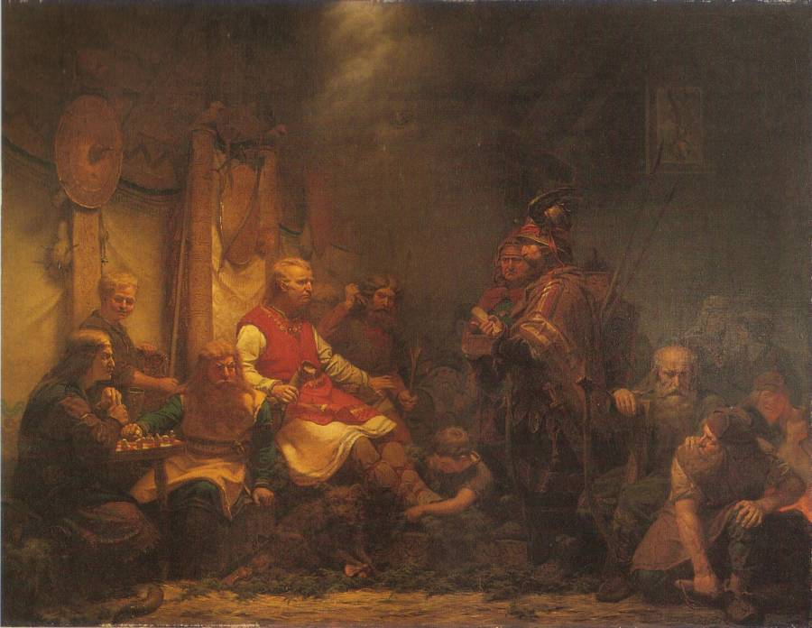 A depiction of messengers of King Aella bringing news to the sons of Ragnar Lothbrok. Clearly, that didn't do any good.