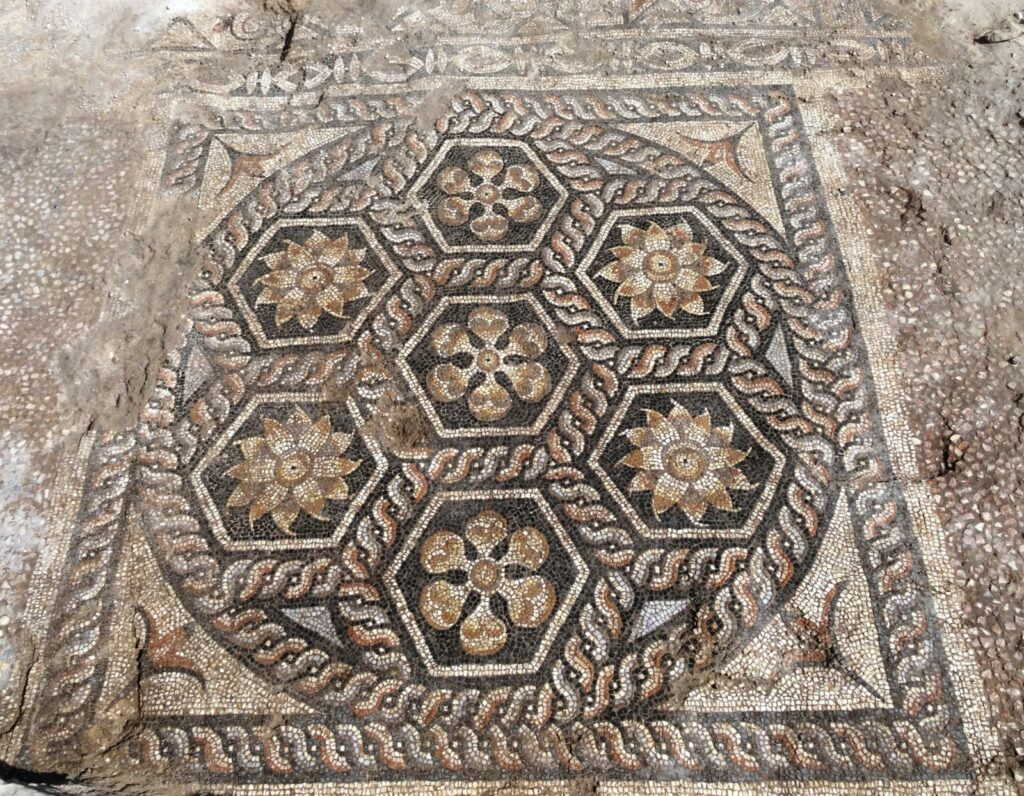 """Overall, the design of the mosaic, additionally equipped with a transversal field in front decorated with astragals and rosettes, is typical for the triclinia – the most imposing of the dining rooms in a Roman house,"" said Majcherek."