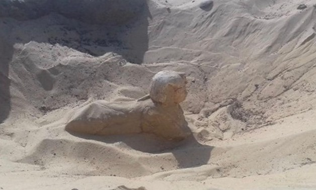 A small royal statue of a sphinx uncovered in Tuna El-Gebel