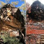 The aftermath of fire damage to important rock art at the Baloon Cave tourist destination, Carnarvon Gorge, Queensland, Australia