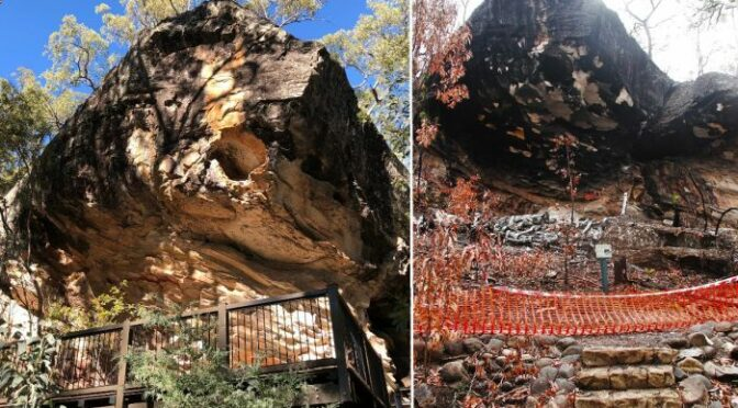 Ancient rock art at Carnarvon Gorge destroyed after walkway explodes in bushfire