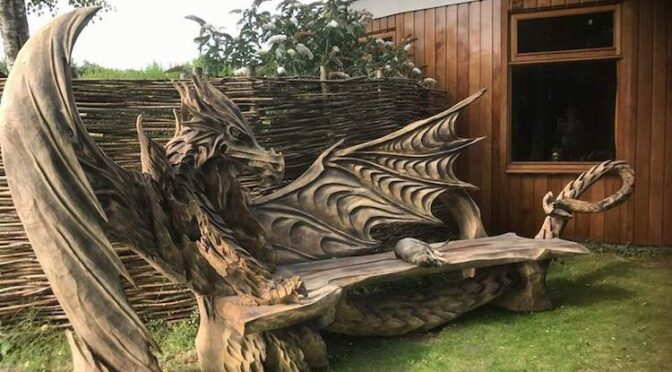 This Fantastical Dragon Bench Was Carved Using A Chainsaw