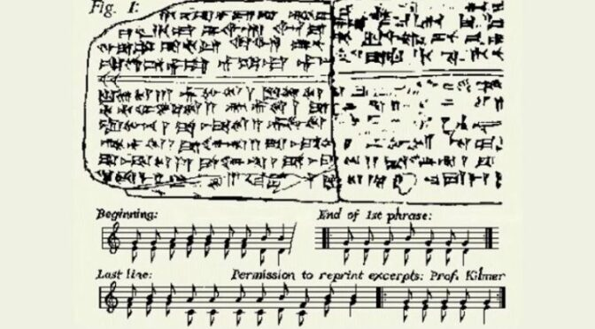 The Hurrian Hymn was discovered in the 1950s on a clay tablet inscribed with Cuneiform text. It's the oldest surviving melody and is over 3400 years old.
