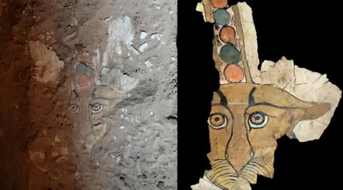 Rare Ancient Leopard Painting Discovered On Sarcophagus In Aswan, Egypt