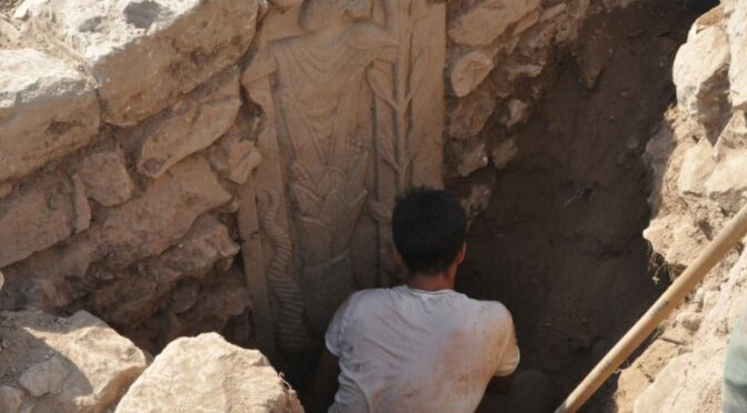 Unknown ancient god with astral symbols discovered on a stele at a cult site in Turkey