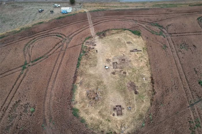 Aerial shot of archaeology dig site project, former Picton Road Station in the Southern Midlands, Tasmania