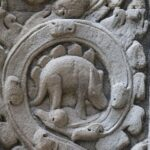 There are carvings found in the Angkor Wat temples that seem to resemble dinosaurs.