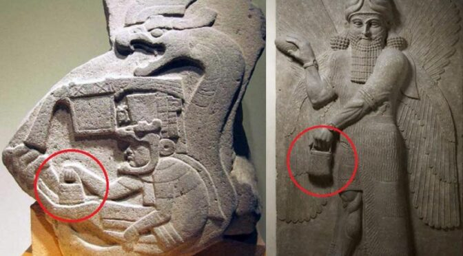 What is the mysterious handbag seen in Ancient Carvings Across Cultures carried by the Gods