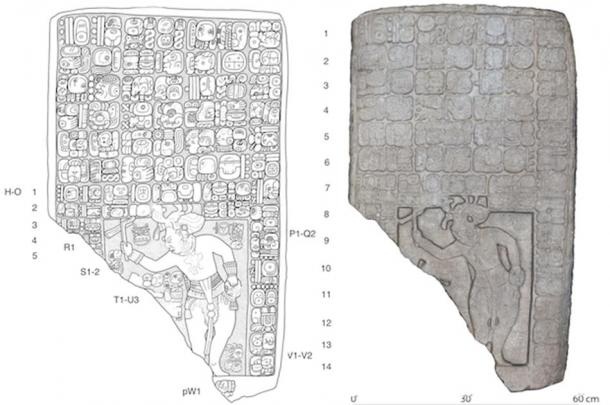 Left, drawing of a tablet found at the site. Right, a digital 3D model.