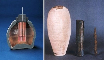 A battery around 200 BC found by the German Archaeologist in 1938.