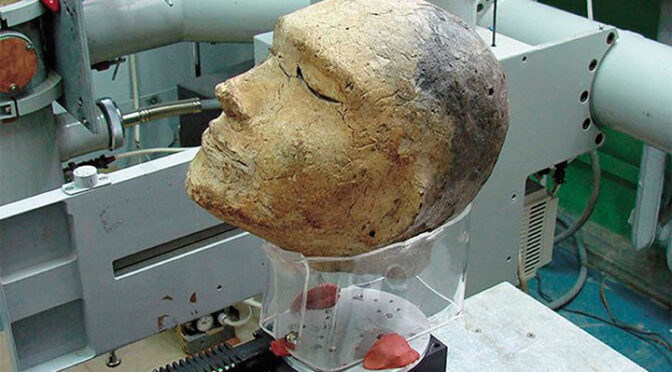 The mystery of unique 2,100-year-old human clay head - with a ram's skull inside