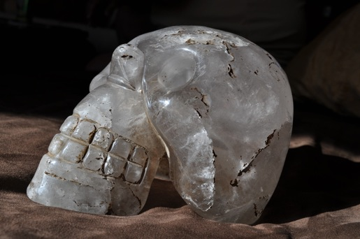 An ancient crystal skull was found many years ago in an archeological site in Southern Mexico.