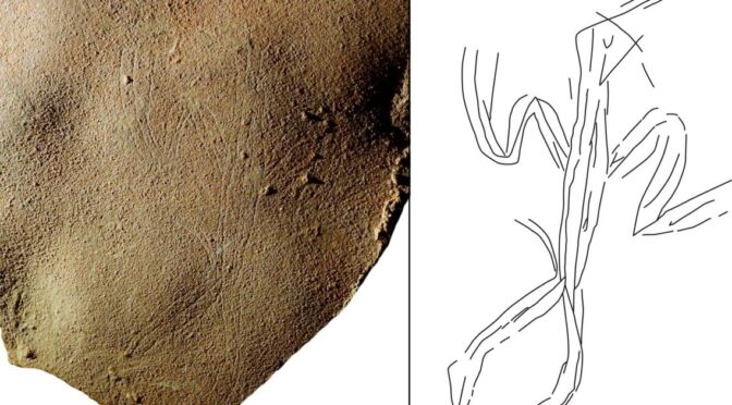 Paleolithic Engraving Found on Burial Slab in Israel