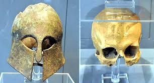 Corinthian Helmet From the Battle of the marathon (490 BC) Found with the Warrior's Skull Inside