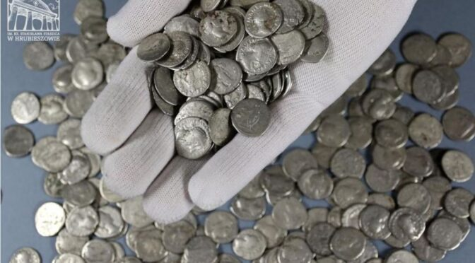 Farmer looking for abandoned antlers stumbles upon largest Ever haul of Roman coins