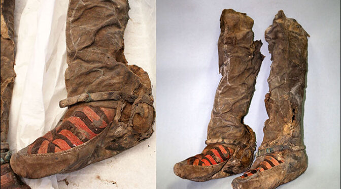 Ancient mummy 'with 1,100-year-old Adidas boots' died after she was struck on the head