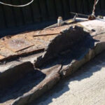 Bronze Age logboat remains found at Faversham boatyard