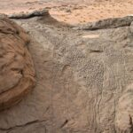 Rock art of a Giraffe dabous niger dated at Approximately 9,000 years ago