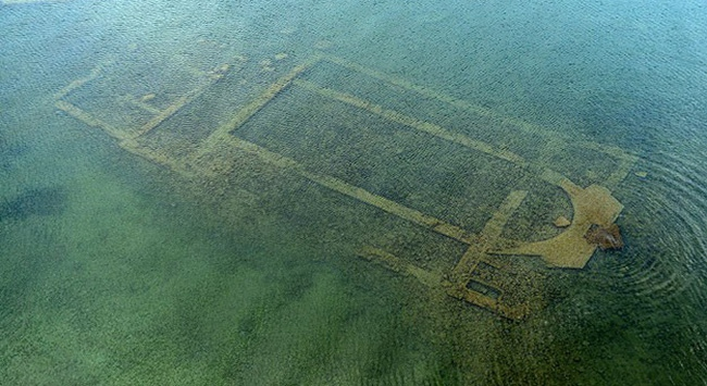 Traces of 5th-century Byzantine basilica were spotted under the water of turkey lake