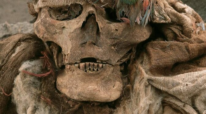 500-Year-Old Mummy of an Incan man wearing a feather headdress found near Lima, Peru