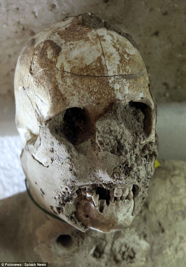 The perfectly-preserved settlement was discovered by accident in the 18th century, buried under 30ft (9 metres) of ash. Archaeologists were amazed to find human remains inside the voids. Plaster of Paris was poured inside to create casts of humans, and when this material is broken it reveals bones inside (shown)