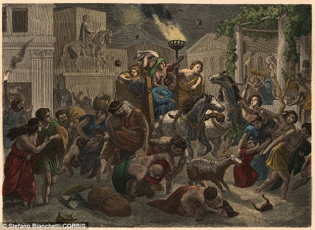 Roman writer, Pliny the younger, described the panic during the eruption of Mount Vesuvius. Terrified Romans (illustrated) living in the towns of Pompeii and Herculaneum saw 'sheets of fire and leaping flames' as they ran through dark streets carrying torches with pumice stone raining down upon them, he said
