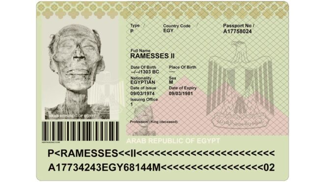 Passport of 3,000-year-old Mummy of Pharaoh Ramesses II Issued for Travelling to France for the necessary repair