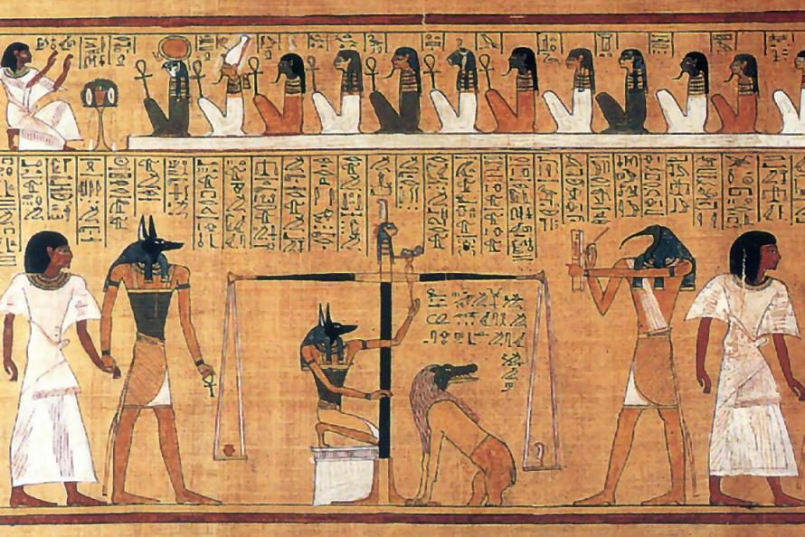 Judgement scene from the Book Of The Dead, the corpus of Egyptian funerary texts that the Book Of Two Ways predates.