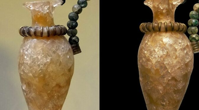 A 3,500-year-old Minoan vase carved from rock-crystals